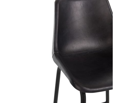 Tabouret moderne en cuir et métal noir ZONA