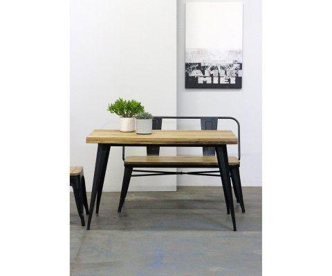 Table 120cm métal bois style industriel TUCKER