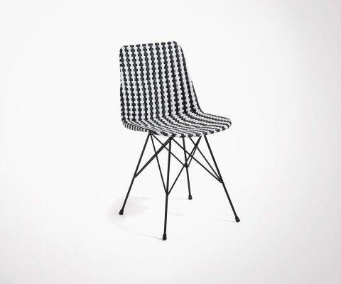 Chaise siège polyrattan noir et blanc ATALA