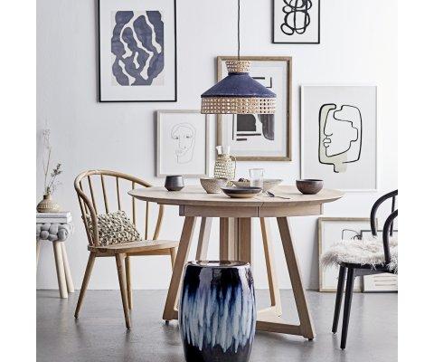 Table à manger ronde 118cm en bois de chêne CLAUDIA