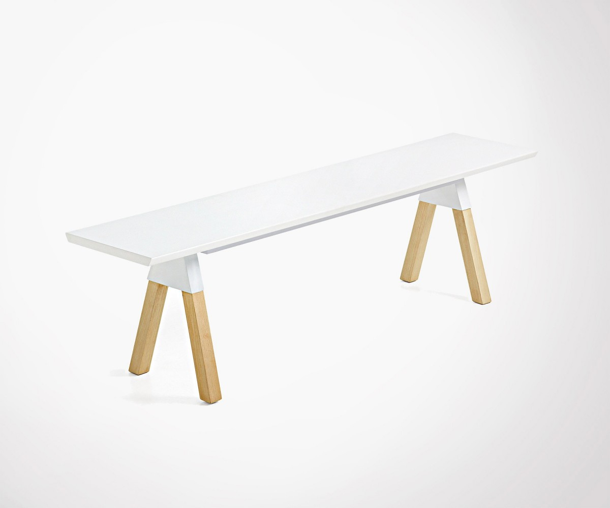 Banc Scandinave Design Bois Naturel Et Blanc 140cm Top Design # Banc Bois Naturel