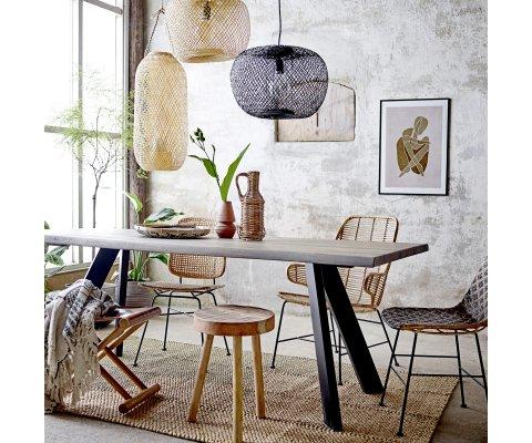 Chaise à motif bicolor en rotin et métal KITTY
