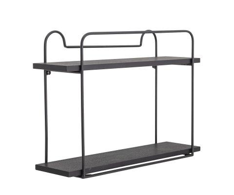 Étagère minimaliste 2 plateaux en métal noir CASS