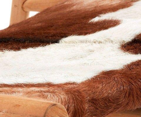 Fauteuil peau de chèvre bois teck EKI