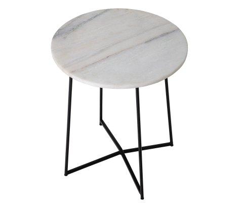 Table d'appoint ronde en marbre et métal ANOU
