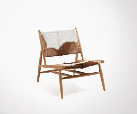 EKI teck wood side chair with goat skin