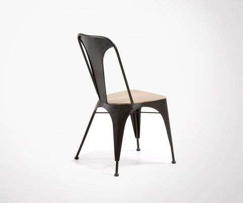 Chaise métal assise acacia DINER