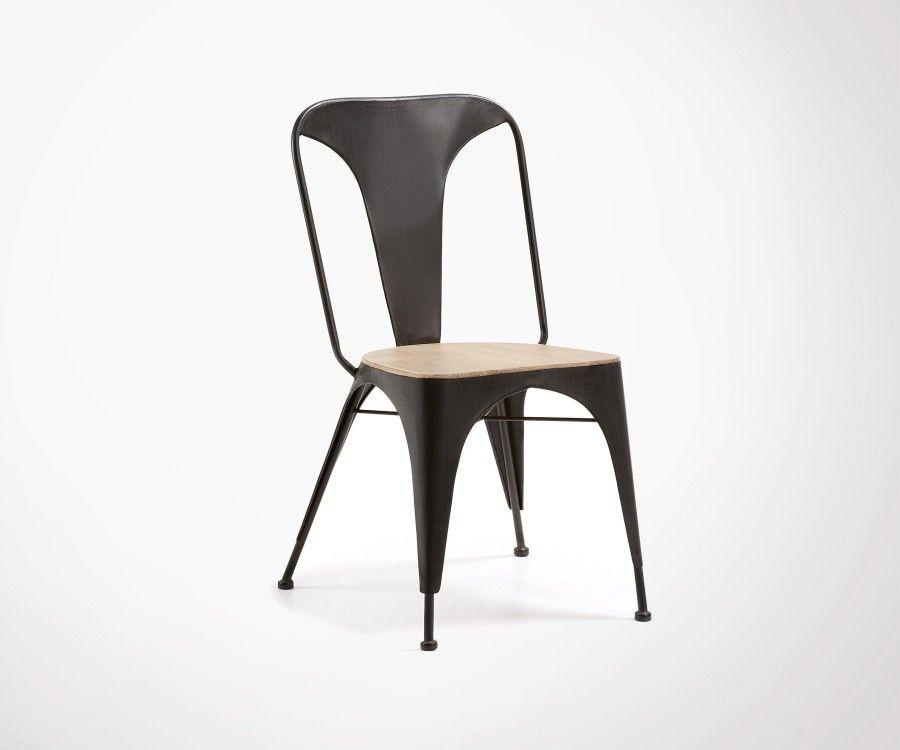 Chaise métal assise acacia DINER
