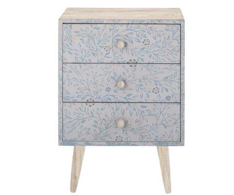 Commode enfant en bois à motifs fleuris bleus FRIGGA