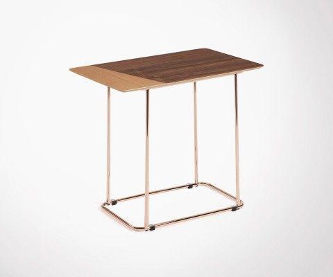 Table d'appoint plaqué bois noyer pied métal cuivré TREZ