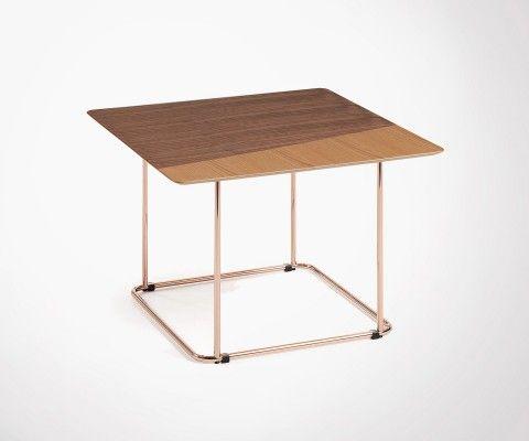 Table basse pied cuivré plateau plaqué noyer TRUDY
