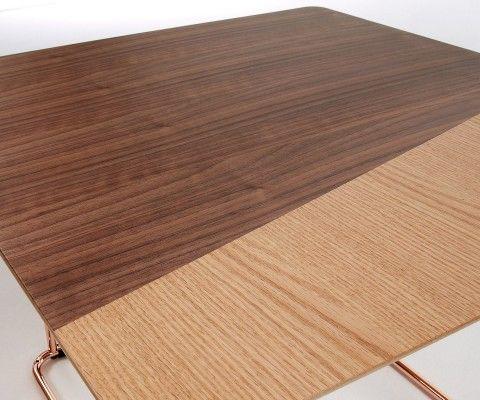 Table d'appoint pied cuivré plateau plaqué noyer TRUDY
