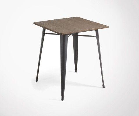 Table 80cm carré pieds métal plateau bambou PACIFIC