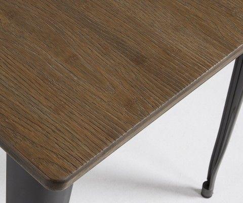 Table carré métal gris plateau bambou PACIFIC - 80cm