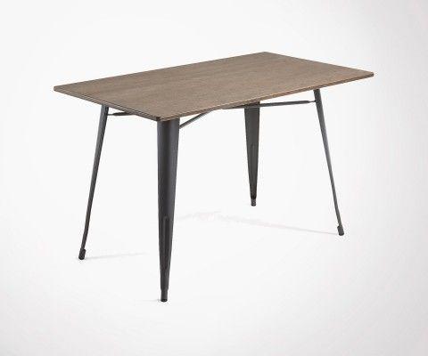 Table à manger métal gris plateau bambou PACIFIC - 150cm