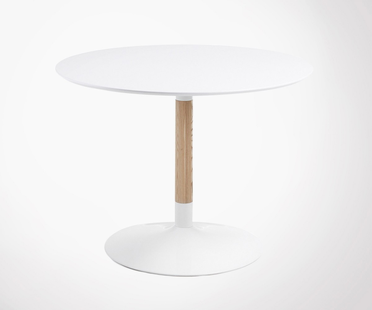 Table 6 personnes 110cm ronde style moderne en bois et m tal for Table ronde design 6 personnes
