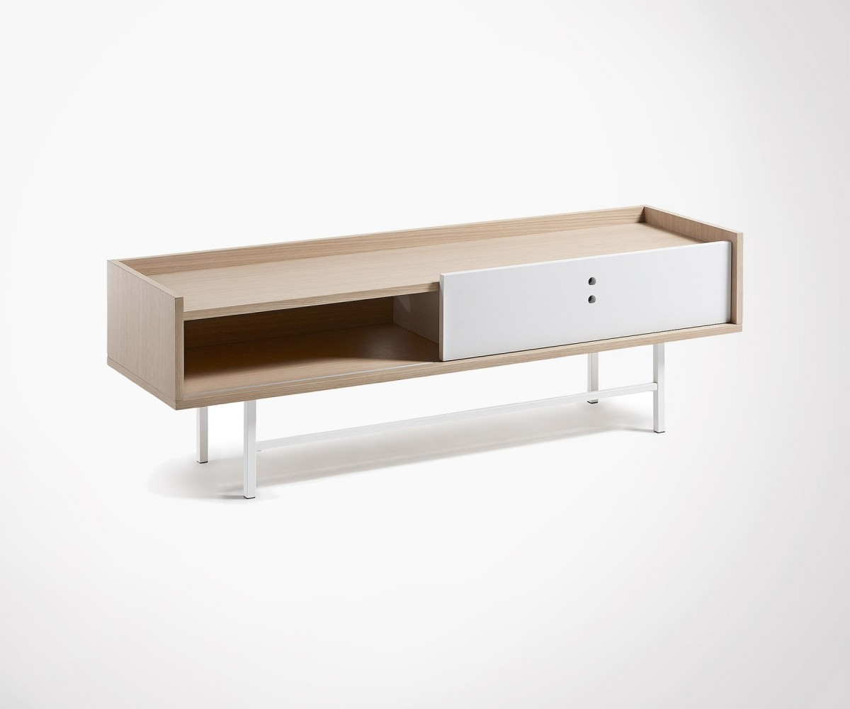 Modern Design Tv Unit 140cm Wood And Metal Finishes # Table Tele Bois Moderne