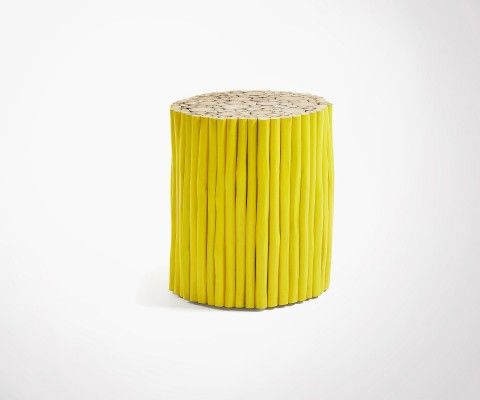 Table de nuit bois rondins blanc SANFILI - 35cm