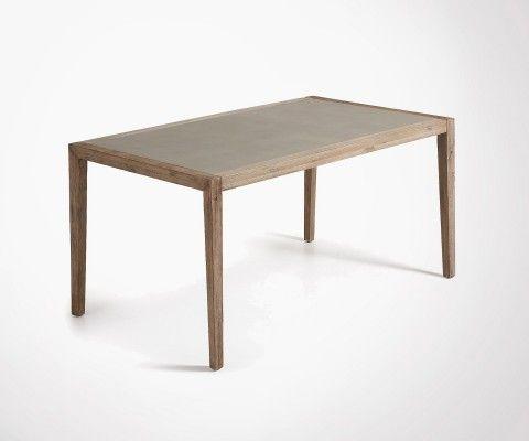 Table à manger 160cm pied acacia plateau ciment SHEVY