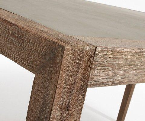 Table à manger pied bois plateau effet ciment SHEVY - 160cm