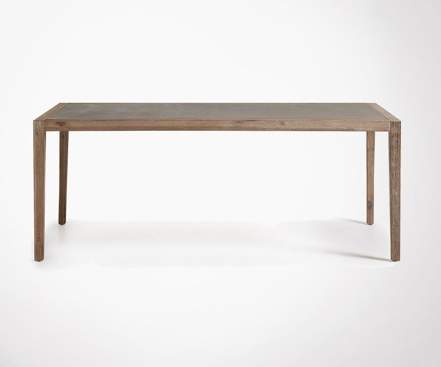 Table à manger pied bois plateau effet ciment SHEVY - 200cm