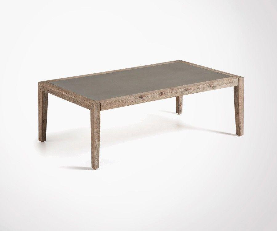 table basse 120x70cm design acacia plateau ciment. Black Bedroom Furniture Sets. Home Design Ideas