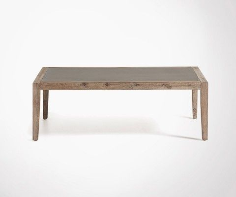Table basse pied bois plateau effet ciment SHEVY - 120x70cm