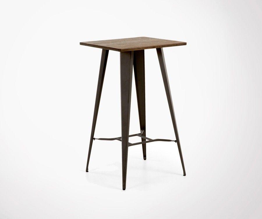 Table haute métal gris bois COSTY - 60cm