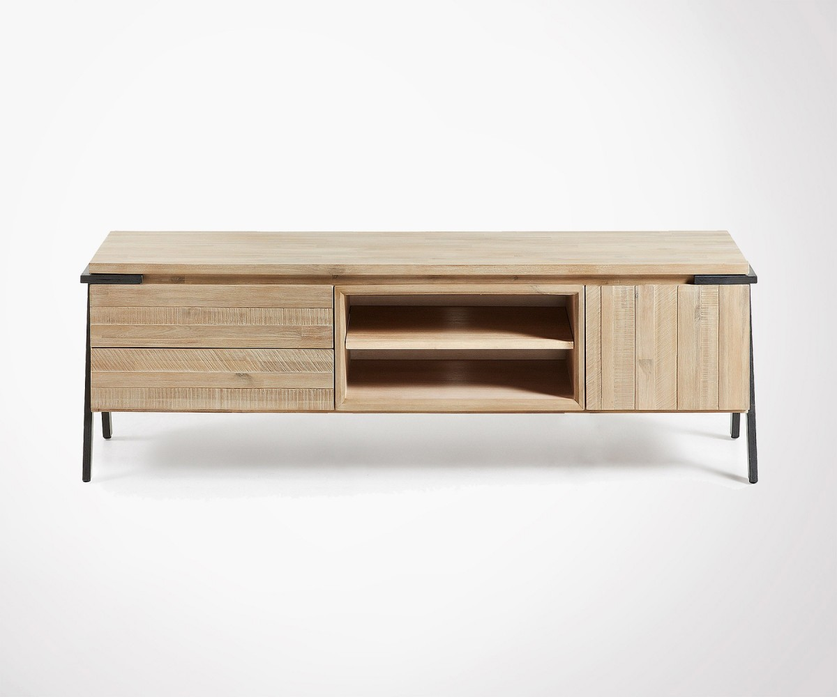 Modern Design Tv Unit Made Of Acacia And Metal # Meuble Tv Discount Design