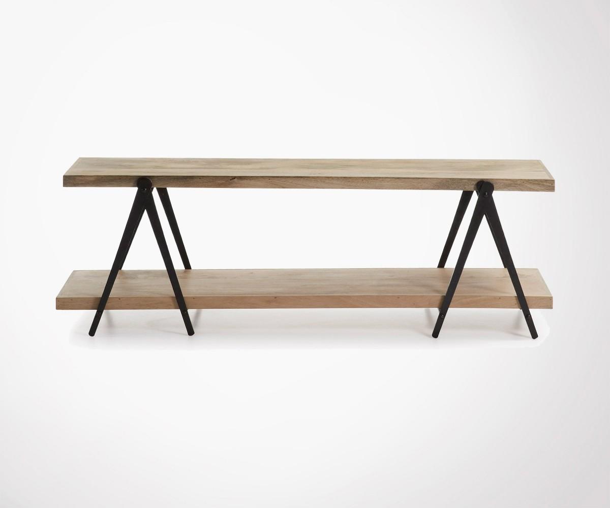 meuble tv industriel 160cm en bois naturel et m tal brut. Black Bedroom Furniture Sets. Home Design Ideas
