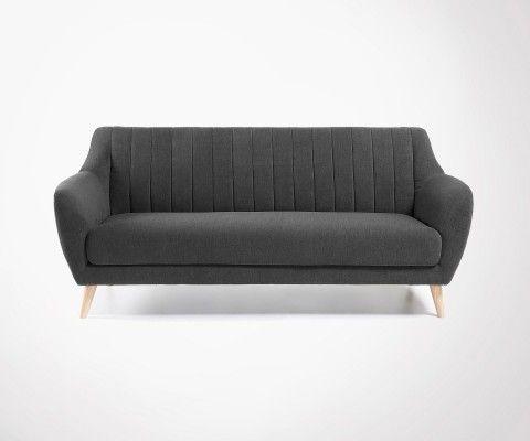 Canapé tissu 3 places pieds bois OFINA - 190cm