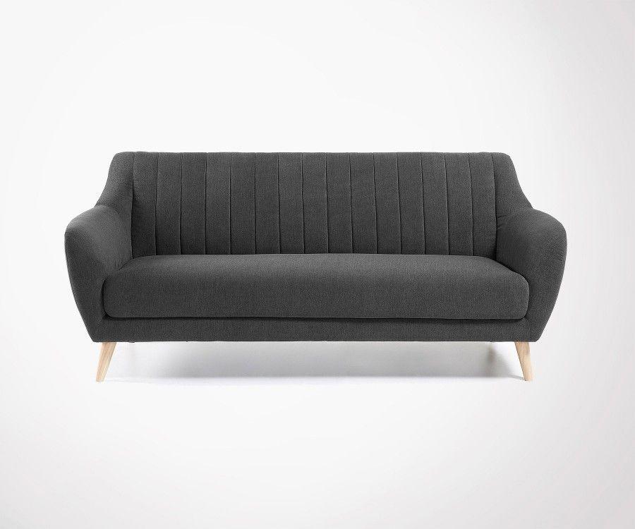 Canapé 3 places pieds bois tissu gris fonce OFINA - 190cm
