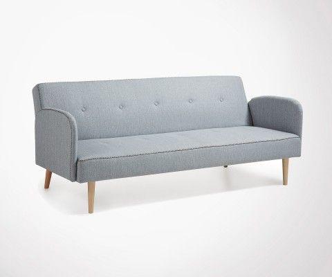 Grand canapé lit 2 places tissu gris clair BEDIN - 188cm