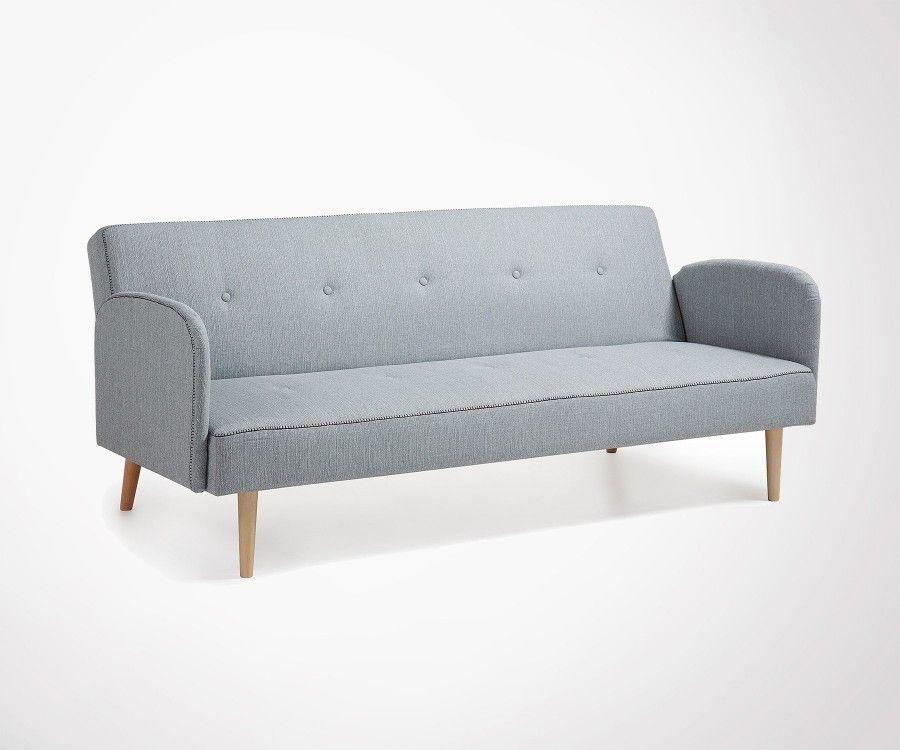 Grande canapé lit 2 places tissu gris clair BEDIN - 188cm