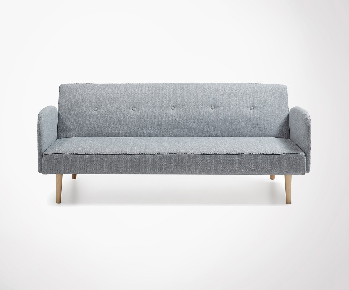 Large Persons Sofa Bed In Grey Fabric Nordic Look Fast Shipping - Divan lit 2 places