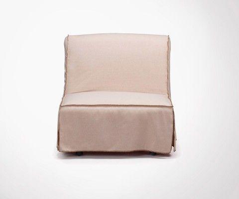Chauffeuse 1 place tissu écru JANINE - 80cm