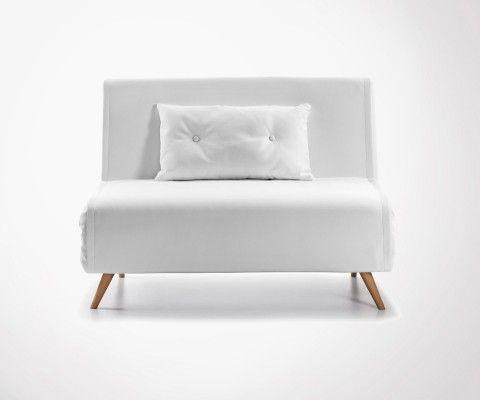 Canapé lit 100cm simili cuir blanc PANLU