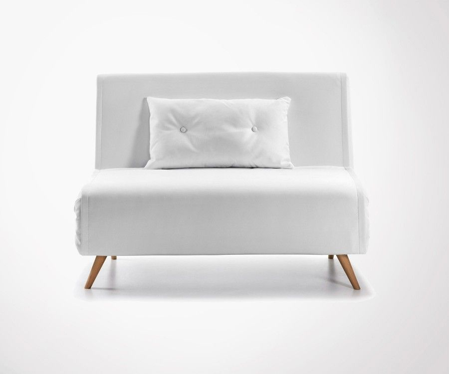 Person Sofa Bed In PU White Scandinave Design Fast Shipping - Canapé convertible moderne