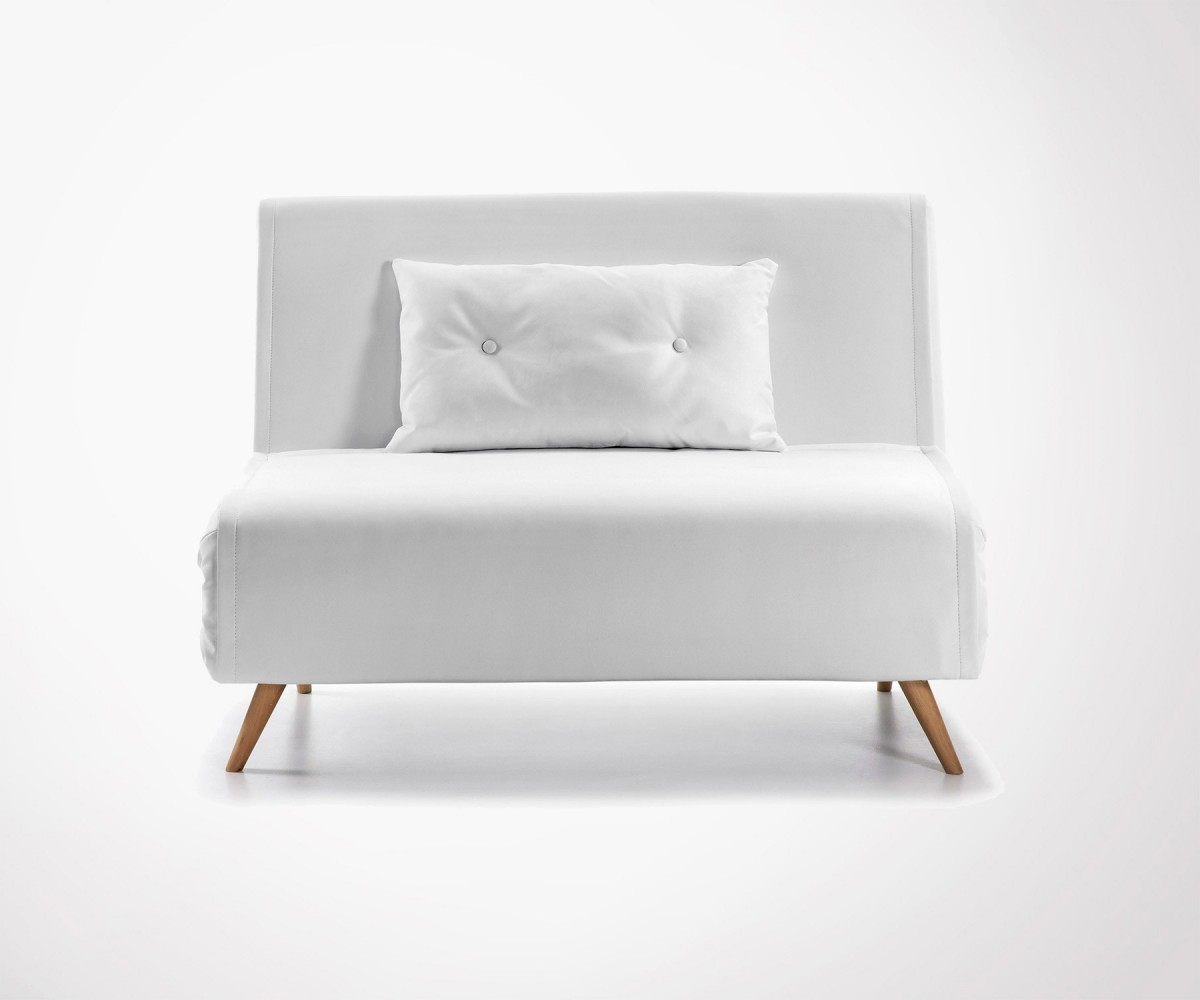 Divan Lit Design : Person sofa bed in pu white scandinave design fast shipping