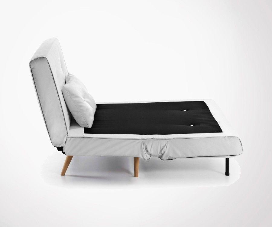Canapé lit tissu moderne blanc PANLU - 100cm