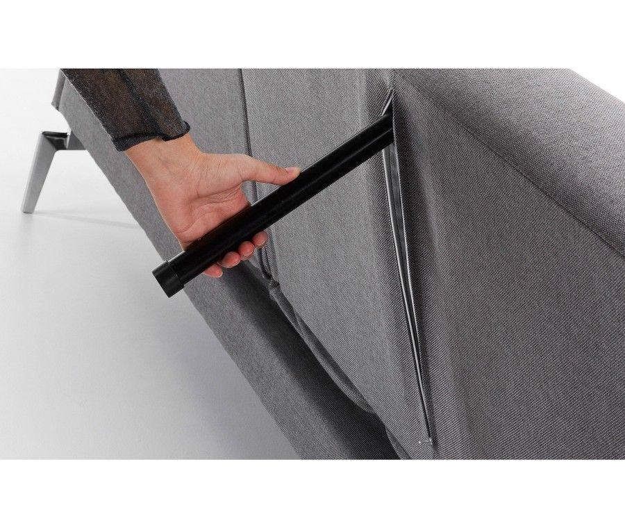Canapé lit 2 personnes tissu gris clair RANI - 200cm