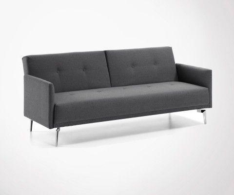 Canapé lit 2 personnes tissu gris RANI - 200cm