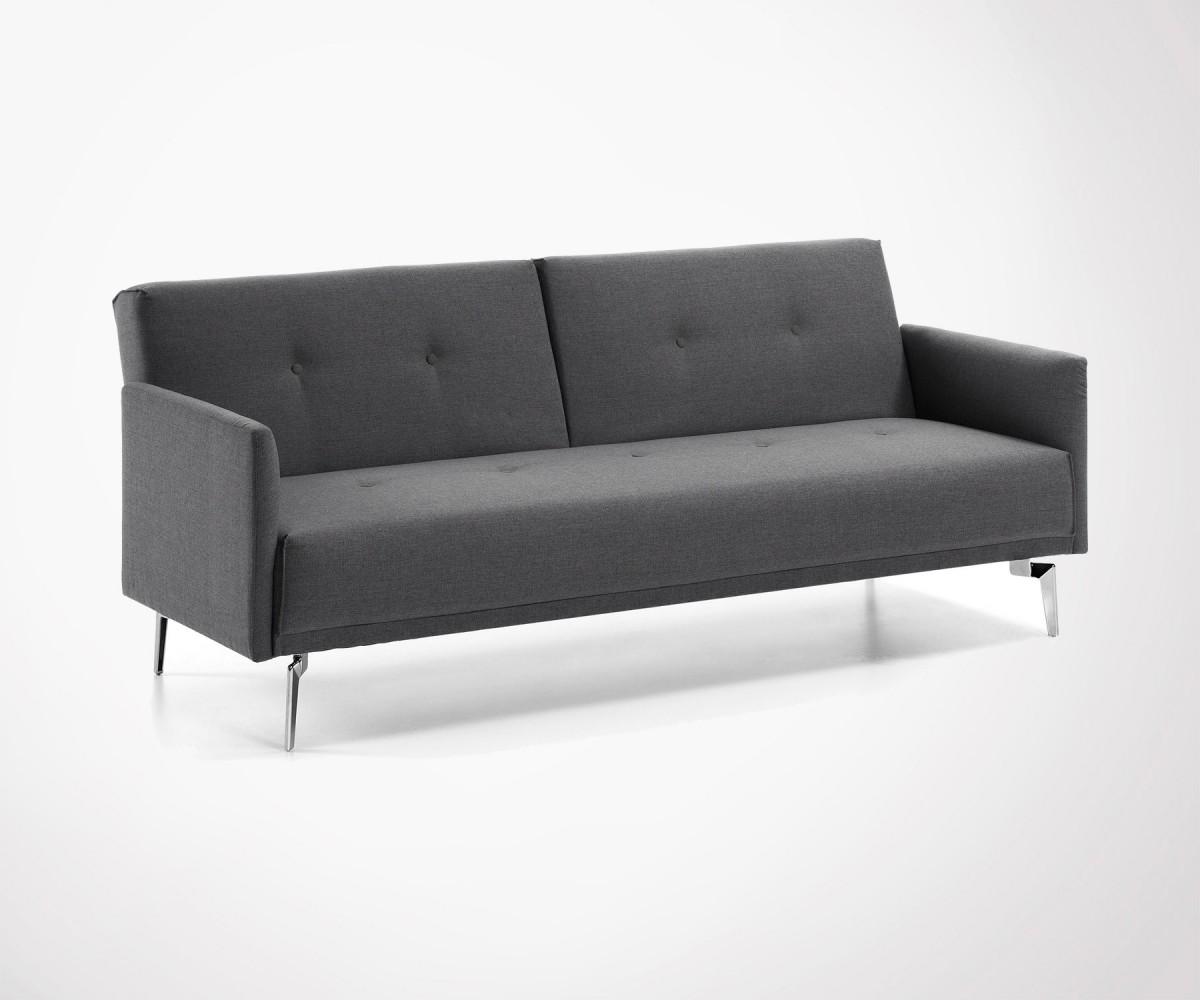 canap lit 2 personnes tissu gris moyen et pieds chrom. Black Bedroom Furniture Sets. Home Design Ideas
