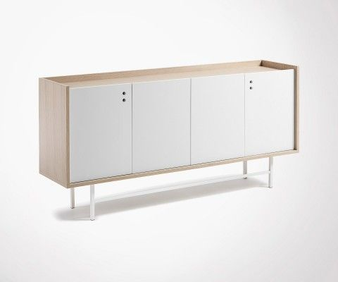 Buffet salon design chêne blanc naturel CHIBO - 170cm