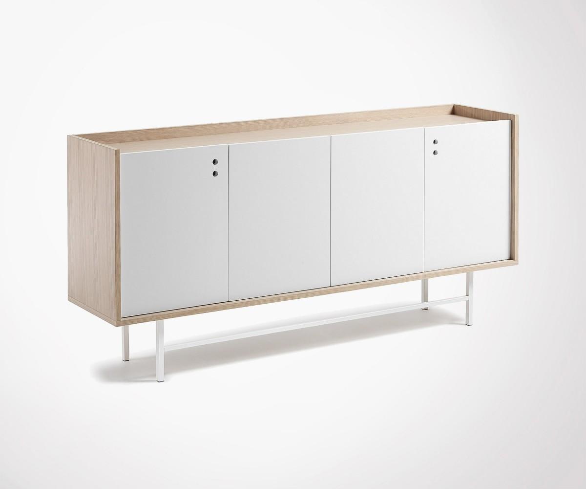 buffet salon en ch ne naturel 4 portes style moderne. Black Bedroom Furniture Sets. Home Design Ideas