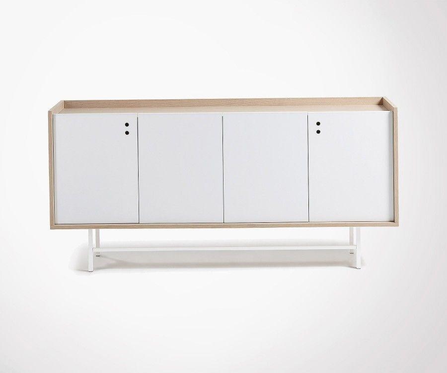 Buffet salon design chêne blanc naturel CHIBO - 170cm
