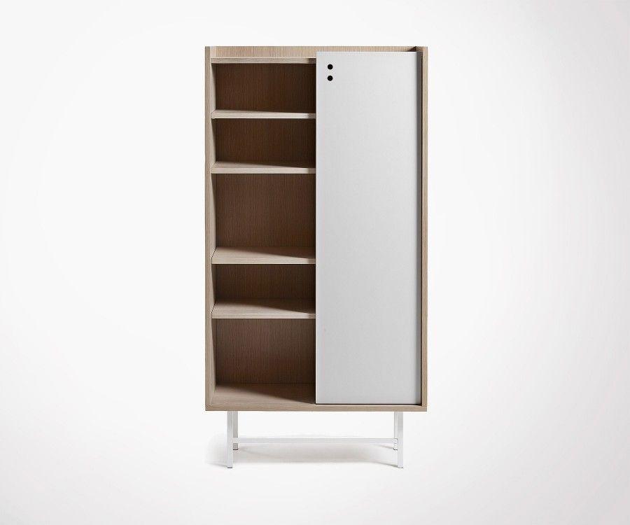 Armoire rangement design chêne blanc naturel CHIBO - 80x154cm
