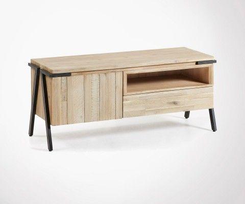 Meuble Tv métal noir bois style moderne SIESTA - 165cm