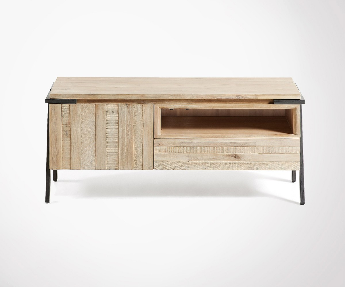 Small Design Tv Unit 125cm Wood And Metal Finishes Top Price # Meuble Tv Metal Noir