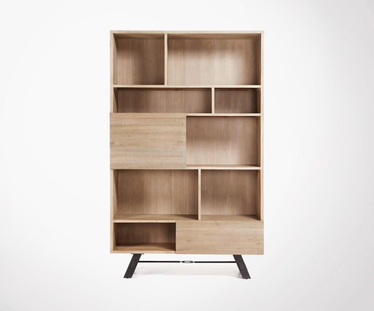 Les Armoires En Bois intérieur armoire 120x195 de rangement bois acacia - look naturel tendance